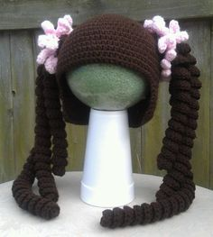 Pigtails Crochet Hat by ChainsAndStitches on Etsy