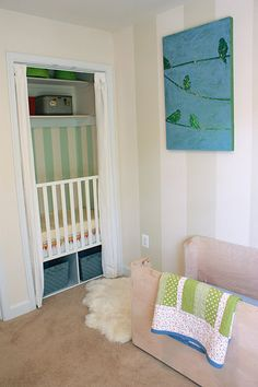 Crib in closet... darker? Pretty sure mark will veto this... but a way to get multipurpose guest room/nursery.... maybe. Haha!