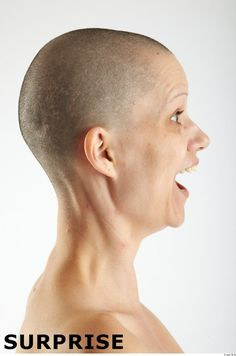 bald woman face side view interesting faces expressions