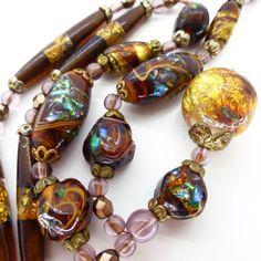 Vintage Deco Venetian Opalescent Foil Glass Drop Bead Necklace | eBay
