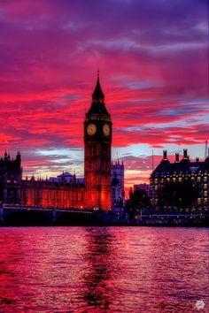 Reddest sunset in Big Ben - The Elizabeth Tower, London