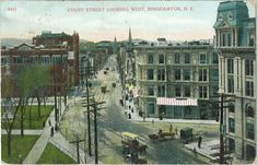 Binghamton, New York, Penny Post Card, 1909. This view of early 20th-century Binghamton, New York, [Court Street, downtown] is among the more than 900 postcards in our Local Post Card collection. The cards in this collection are an excellent source of historical images of Binghamton and Broome County. This is one of many Binghamton photographs in the Julie Cizenski Collection of Postcards accessible though the catalogue.