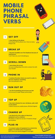 Educational infographic : Learn mobile phone phrasal verbs with a funny short film. Watch the movie and fi