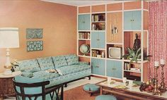 I love the integrated use of colour here! Sherwin Williams Home Decorator 1960 #vintagehome