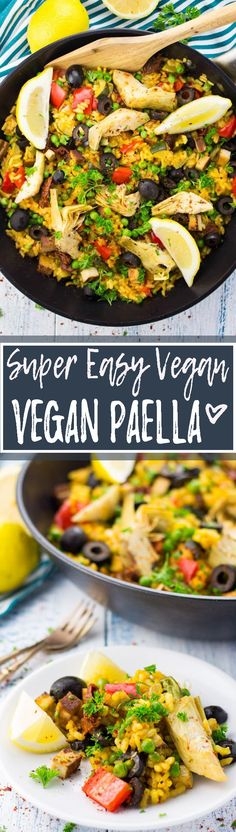 This vegan paella with artichokes, smoked tofu, and sun-dried tomatoes feels like a vacation to Spain! It& packed with flavor and it& perfect for summer! This vegan paell Vegan Dinner Recipes, Veggie Recipes, Whole Food Recipes, Vegetarian Recipes, Cooking Recipes, Healthy Recipes, Cooking Time, Dishes Recipes, Sandwich Recipes