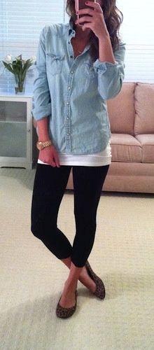 Chambray shirt, white tank top, black leggings, leopard print flats