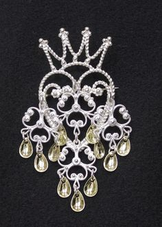 Mothers Day Gift Brooch Boutique Silver Plated Black Crystal Traditional Crown Brooch