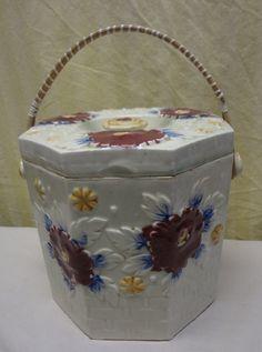 Vintage Japanese Floral Handled Porcelain Cracker, Biscuit, Cookie Jar Japan