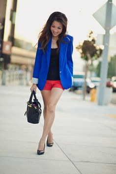 blue blazer, color blocking