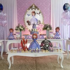Decor Princess Sofia Birthday, Sofia The First Birthday Party, Princess Theme, 2nd Birthday Parties, Princess Party Decorations, Birthday Party Decorations, Princesa Sophia, Daughter Birthday, Ideas Para Fiestas