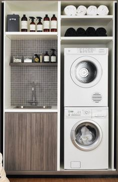 There are so many exciting small laundry room design ideas that you can apply for your small laundry room. Having a laundry room in your house is definitely a must. It ensures that you have fresh and clean clothes at… Continue Reading → Small Space Laundry Room Storage, Tiny Laundry Rooms, Laundry Room Layouts, Laundry Room Cabinets, Basement Laundry, Laundry Closet, Laundry Room Organization, Diy Cabinets, Laundry Area