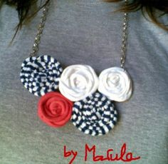 collar rosas marineras collar trapillo,cadena de metal cosido a mano