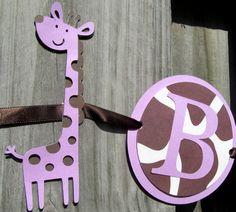 Purple Giraffe Birthday Banner Want to do in Blue instead of purple???
