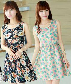 D105 Hot !! Korean Cute Style Summer Women Dress Free Shipping Casual Floral Print  All Match Brand Chiffon Princess Girl Dress $9.19