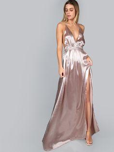 Pink Plunge Neck Crisscross Back High Slit Wrap Cami Dress   MakeMeChic.COM