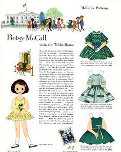 Free Vintage Printable Betsy McCall Visits the White House Paper Doll