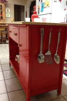 repurposed baby changing table to kitchen island kitchen island painted furniture repurposing upcycling LOVE THE RED! - March 23 2019 at Refurbished Furniture, Repurposed Furniture, Furniture Makeover, Painted Furniture, Furniture Projects, Diy Furniture, Diy Projects, Children Furniture, Baby Changing Table