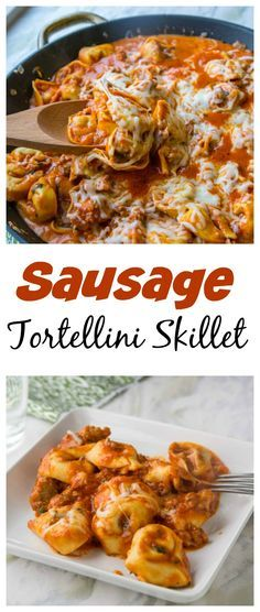 Sausage Tortellini Skillet – Your favorite tortellini comes together in a quick and easy hearty one pan meal the whole family will love!