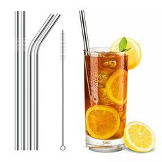 Reusable Drinking Metal Straw Stainless Steel Straw Canudo with Cleaner Brush For Juice Mugs Party Bar Accessories Quality Serveware Accessories, Bar Accessories, Stainless Steel Straws, Stainless Steel Metal, Metal Straws, Coffee Love, Save The Planet, Brush Cleaner, Voss Bottle