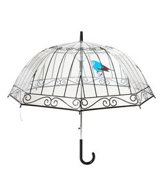 This birdcage umbrella doubles down with a bird-in-cage design on the clear windproof canopy.31.5'' L x 33.1'' diameterAutomatic openingWindproof8 ribsPVCMade in France