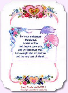 card sentiments   Wedding Anniversary Card Verses by Moonstone Treasures.