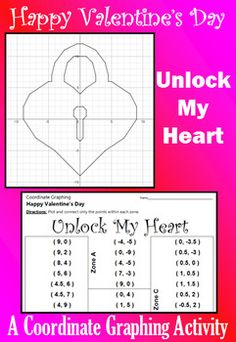 Celebrate Valentine's Day with this festive coordinate graphing activity. Students are given a list of coordinate points to connect.  They should connect the points only within the designated zones. When they are done, they will have a picture of a heart-shaped lock.Don't forget to download a copy of my custom-made FREE GRAPH PAPER.Here are some tips: [1] All points will be on one grid line or another. [2] A completed picture has been provided to be used as a key.  [3] You can download my…