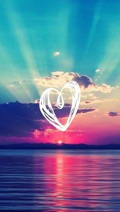 Rainbow heart sky