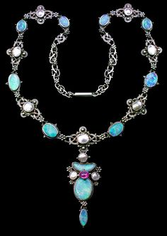 ARTIFICERS' GUILD 1901-1942 Attrib. Superb Arts & Crafts Necklace Silver Opal Pearl Pink Tourmaline