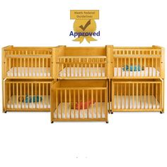 Six Unit Infant Daycare Bunkie Crib, Stacking Cribs, Stackable Crib, Honey. Affordable!