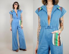 Denim vtg 70's Bell bottom JUMPSUIT JEAN pantsuit NAVAJO southwestern pocket Zipper tight flared leg hippie xsmall / xs