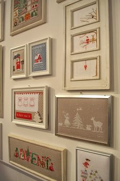 Cross Stitching Christmas Picture Frames / Kreuzstich Weihnachten Advent Bilder Rahmen
