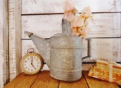 Old Watering Can Rustic Farmhouse Charm Indoor or by KnickofTime