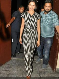 KOOVS Button Front Zig Zag Print Jumpsuit In The Style Of Deepika Padukone