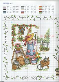 Cross-stitch Spring, part Gallery. Just Cross Stitch, Cross Stitch Needles, Cross Stitch Baby, Cross Stitch Samplers, Cross Stitch Flowers, Cross Stitch Charts, Cross Stitch Designs, Cross Stitching, Cross Stitch Embroidery
