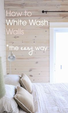 When you're in need of an easy project to give your home a charming remodel, this guide on how to whitewash wood walls is perfect. Complete your new space with cozy textures and rustic accessories. home wood White Wash Walls, White Wash Ceiling, How To Wash Walls, White Plank Walls, White Wash Stain, White Washed Pine, White Washed Wood Paneling, White Washed Furniture, Knotty Pine Walls