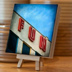 Wooden Photo Block Birch Plywood 14.5x14.5 cm Retro sign by Eyeshoot Photography. available from Etsy