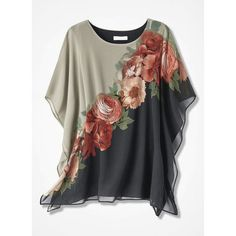 Find classic and comfortable women's plus size shirts at Coldwater Creek.A sophisticated statement, this slipover poncho-style tunic showcases exquisitely detailed blossoms front and back.Explore a timeless collection of women's plus size tunics at C Blouse Styles, Blouse Designs, Latest Fashion For Women, Womens Fashion, Fashion Online, Plus Size Shirts, Short Sleeve Blouse, Short Sleeves, Shirt Blouses