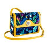 Elegant classic leather trim in Midnight Blues and the style name is the Patricia Cross-body.  So beautiful and is available for purchase at VeraBradley.com