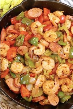 Sausage And Shrimp Recipes, Cajun Recipes, Seafood Recipes, Creole Recipes, Cooking Recipes, Healthy Recipes, Cabbage And Sausage, Sausage Potatoes And Peppers, Healthy Family Dinners