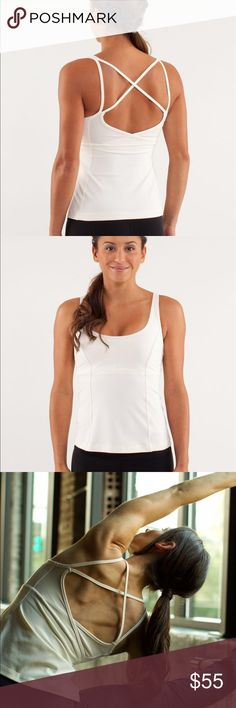Lululemon Back Burner Tank Polar Cream size 2 Worn twice. Free Lululemon shopping bag with purchase. designed for: yoga fabric(s): luon® light, COOLMAX® properties: chafe-resistant, preshrunk, four-way stretch, breathable, moisture-wicking shelf bra: yes support level: medium coverage: medium fit: fitted length: mid-hip lululemon athletica Tops Tank Tops