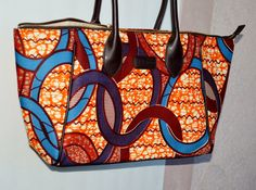 Large Tote Bag Large Ankara Tote Bag With Leather by ZabbaDesigns, $75.00