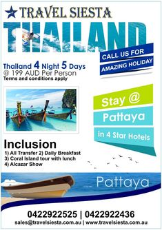 Are looking for International holidays from Australia? Travel Siesta is a leading Australia based tour operator offering wide range of international holiday packages International Holidays, Flight Tickets, Holiday Packages, Tour Operator, Pattaya, Australia Travel, 4 Star Hotels, Thailand, How To Apply