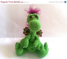 PATTERN Crochet Baby Winged Dragon Plush Toy by WhisperedWhimsy