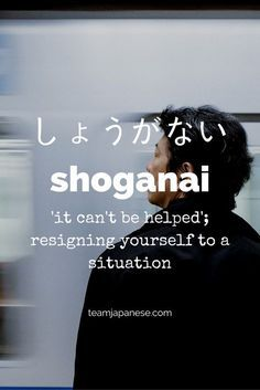 Shoganai: the Japanese word for it can't be helped. For more beautiful and untranslatable Japanese words, visit teamjapanese.com