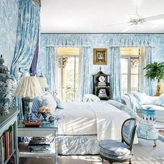 One of my all-time favorite bedrooms, swathed in blue and white...