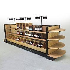 """wood gondola store shelving for wine racks  BRANDY - Liquor Shelves & Wine Racks - Sold Complete as Shown 54""""H Island x 15ft-11"""" L"""