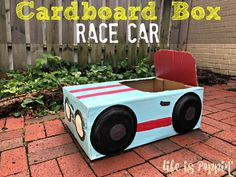 Here's your step by step instructions to build your very own cardboard box car your kids are sure to love! Make yours a cardboard race car! Cardboard Car, Cardboard Crafts, Cardboard Costume, Cardboard Playhouse, Cardboard Furniture, Nissan Gt, Kids Boxing, Cub Scouts, Daisy Scouts