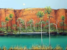 Ingrid Windram - Textural Painting - Trees - Cliffs - Water - Colours Of The Kimberley Contemporary Landscape, Abstract Landscape, Landscape Paintings, Australian Painting, Australian Artists, Artist Painting, Painting Trees, Tree Paintings, Watercolour Painting