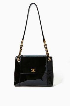 Vintage Chanel Black Patent Handbag