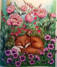 "183 Likes, 21 Comments - Frilli (@coloring_frilli) on Instagram: ""Little sleeping fox.  Love the magic world in #blomstermandala #mariatrolle #målarbokförvuxna…"""